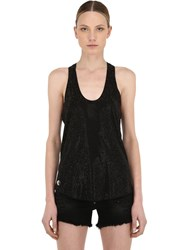 Philipp Plein Embellished Cotton Jersey Tank Top Black