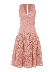 Little Mistress Sleeveless Lace Dropped Hem Dress Apricot