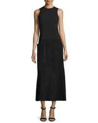 Calvin Klein Sleeveless Suede And Wool Midi Dress Black