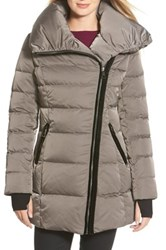 Vera Wang Asymmetrical Zip Quilted Coat Gray