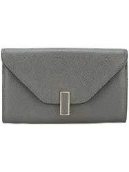 Valextra Textured Clasp Wallet Women Calf Leather One Size Grey