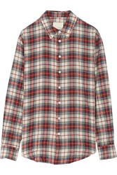 Band Of Outsiders Plaid Woven Cotton Shirt Red