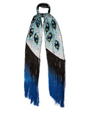 Rockins Peacock Feather Sequin Embellished Scarf Black Multi