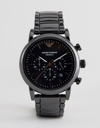 Emporio Armani Ar1509 Chronograph Ceramic Bracelet Watch In Black Black