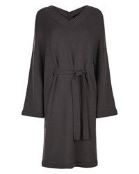 Jaeger Wool V Neck Slouchy Dress Grey