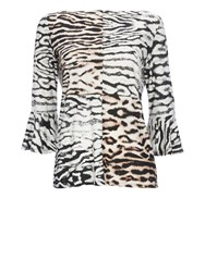 Wallis Animal Printed Flute Sleeve Top Stone