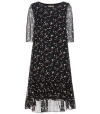 Saint Laurent Printed Silk Dress Black