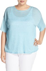 Plus Size Women's Eileen Fisher Organic Linen Round Neck Short Sleeve Sweater Windflower