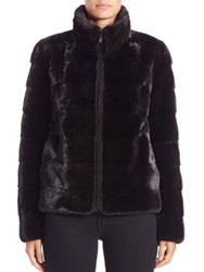 Michael Kors Horizontal Mink Fur Jacket Black