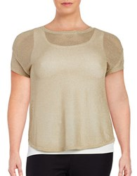Michael Michael Kors Plus Metallic Mesh Top Khaki