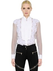 Givenchy Sheer Washed Chiffon And Lace Shirt