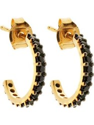 Lola Rose Black Spinel Small Hoop Earrings Gold