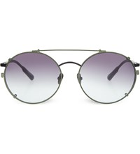 Kris Van Assche Kva70 Unique Circular Combination Aviator Sunglasses Black And Green