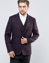 Feraud Heritage Premiun Wool Brown Herringbone Blazer Brown