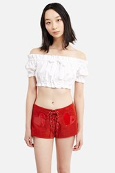 Daisy Cotton Bow Crop Top White