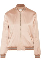 Saint Laurent Appliqued Satin Bomber Jacket Blush