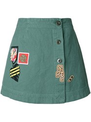 Mr And Mrs Italy Patch Buttoned Skirt Green