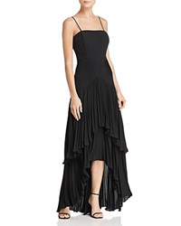 Laundry By Shelli Segal Pleated Chiffon High Low Gown Black