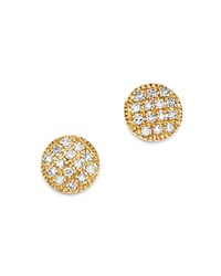 Moon And Meadow Diamond Circle Stud Earrings In 14K Yellow Gold 0.08 Ct. T.W. 100 Exclusive White Gold