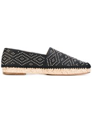 Paloma Barcelo Studded Espadrilles Women Raffia Leather 40 Black