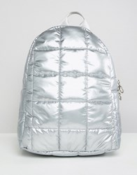 Asos Design Quilted Metallic Backpack Silver