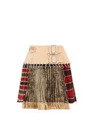Chopova Lowena Tartan Recycled Tapestry Mini Skirt Green Multi