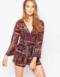 Influence Printed Long Sleeve Wrap Front Playsuit Multi