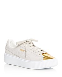 Puma Suede Metallic Cap Toe Platform Creeper Sneakers Gold White