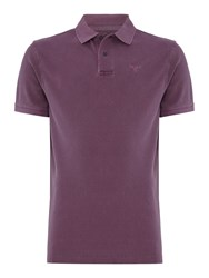 Barbour Men's Washed Short Sleeve Polo Plum