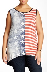 Vanilla Sugar Freedom Embellished Graphic Tank Plus Size Blue