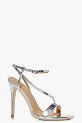 Boohoo Open Back Two Part Sandal Silver