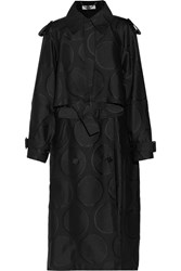 Stella Mccartney Gabriella Wool Blend Jacquard Trench Coat Black