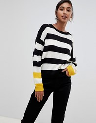 Brave Soul Bolt Stripe Jumper With Contrast Cuffs Black White Yellow
