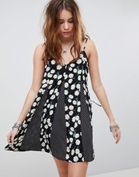 Kiss The Sky Cami Dress In Mixed Floral Spot Print Black