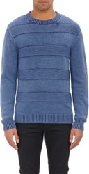 Shipley And Halmos Acid Washed Mixed Stitch Crewneck Sweater Blue