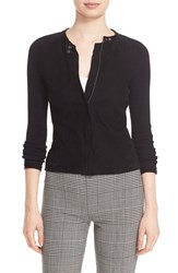 Theory Women's 'Dorynth Ether' Leather Front Sweater Jacket Black