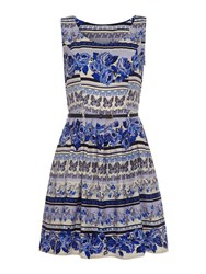 Mela Loves London Butterfly And Rose Print Belted Dress Blue