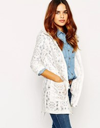 Warehouse Crochet Lace Pac A Trench White