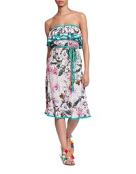 Plenty By Tracy Reese Floral Print Strapless Dress Multicolor