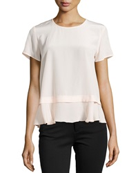 Madison Marcus Ruffle Trim Short Sleeve Blouse Blush