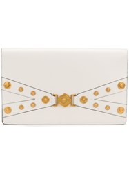 Versace Medusa Embellished Clutch Nude And Neutrals