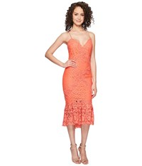 Nicole Miller Leila Crochet Lace Cocktail Dress Coral Reef Women's Dress Red