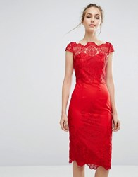 Chi Chi London Bardot Lace Pencil Dress Red