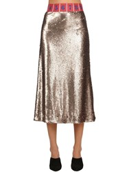 Stella Jean Sequined Stretch Midi Skirt Gold