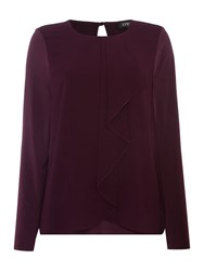 Episode Long Sleeve Ruffle Blouse Aubergine