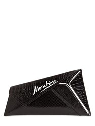 Moschino Printed Leather Clutch Black
