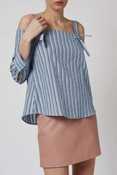 Striped Off The Shoulder Shirt By Boutique Pale Blue