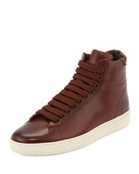Tom Ford Russel Leather High Top Sneaker Brown