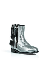 Giuseppe Zanotti Metallic Leather Biker Boots With Shearling Lining Silver