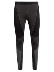 Peak Performance Contrast Panel Leggings Black Grey